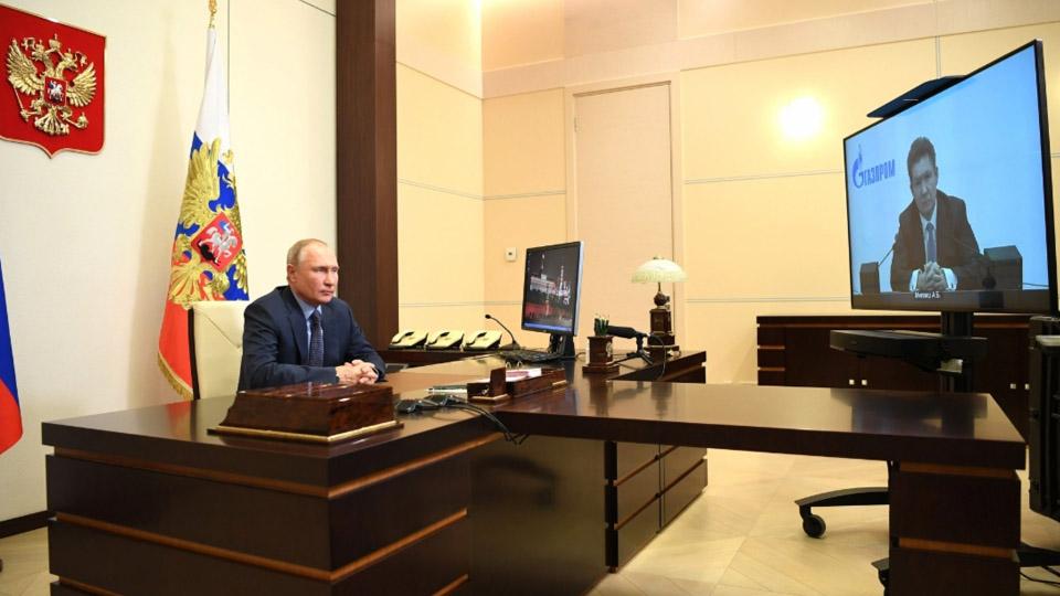 Рабочая встреча В. Путина и А. Миллера